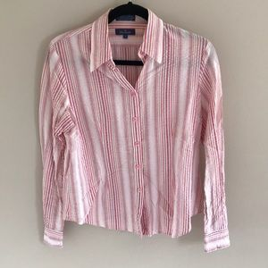 Faconnable Womens striped button down shirt size s